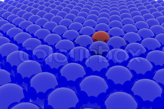 A lot of blue balls and one red. Computer generated image.