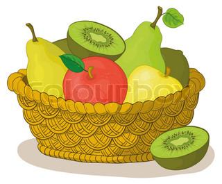 Still life, wattled basket with sweet fruits: apples, pears, kiwi
