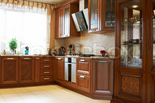 Beautiful and new kitchen in the modern house