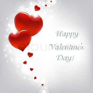 Valentinsdag Card med hjerter, vektor illustration