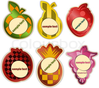 vector set - fruit labels on white background