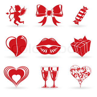 Collect Valentines Day Icons with Hearts, Cupid, Lips and decoration element, vector illustration