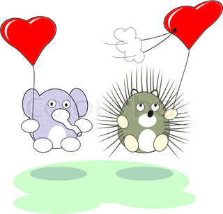Cartoon enamored baby elephant and hedgehog toy with red heart balloons in love - vector isolated illustration,  white background