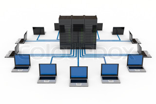 Computer Network with server on white background. Computer generated image.