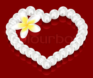 vector valentine's day gifts - pearl beads and a flower