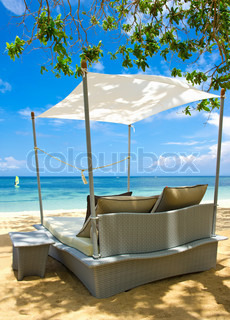 luxury relax chair on a beautiful tropical beach