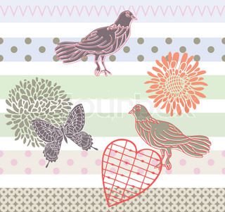 Retro style vector seamless pattern, fabric, wallpaper, wrapping and background set with flowers and birds
