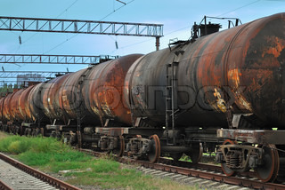 the train transports old tanks with oil and fuel