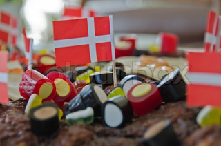 birthday cake with flags and candy