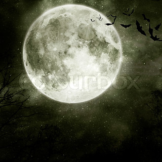 Bats flying in the night with a full moon in the background