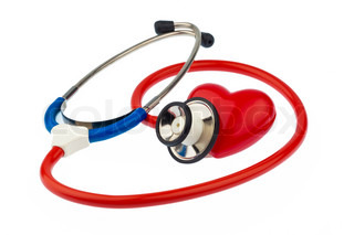 a stethoscope and a heart on a white background prevention of heart disease