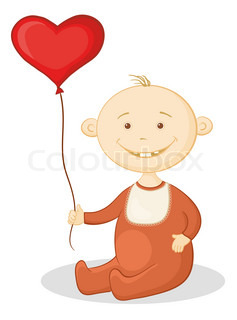 Smiling child sits with a red heart-shaped valentine balloon
