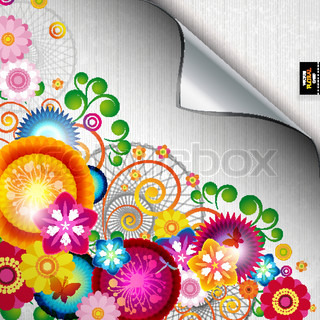 Bright decor with abstract flowers and leafs