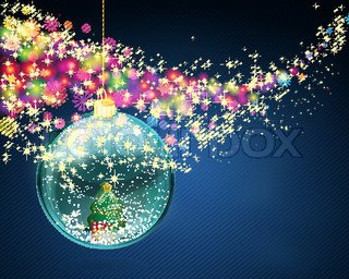 Vector snow ball with christmas tree and presents