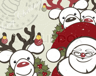 Christmas background with funny reindeers and Santa Claus