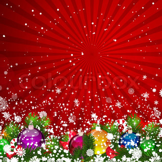 Christmas background with snow-covered Christmas tree decorated with glass balls