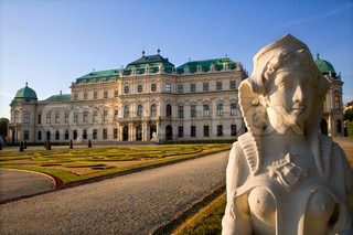 Vienna - sphinx and Belvedere palace in morning