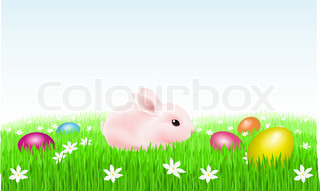 Bunny on the grass with Easter Eggs Illustration on white background for design