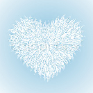 Fluffy White Heart  on light-blue background.  Vector illustration