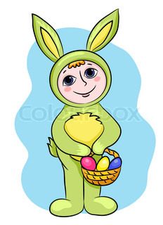 The child in a suit of an easter rabbit Vector cartoon illustration