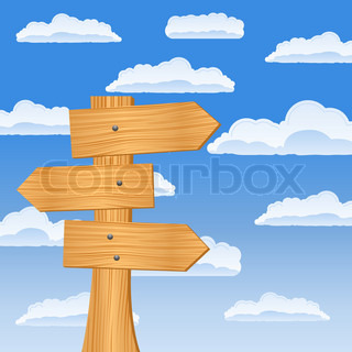 Wooden arrow sign on the sky background, vector illustration