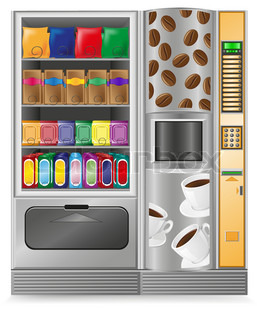 vending coffee and snack is a machine vector illustration