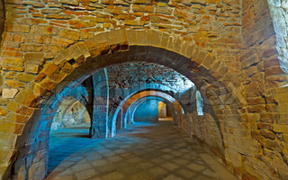 Vaulted Dungeon Royal Monastery in Aragon, Spain