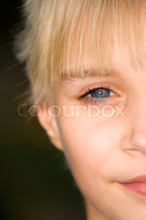 half Face of young girl