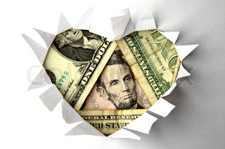 dollar heart as valentine background in the white paper