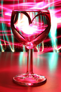 valentine heart in the glass of wine
