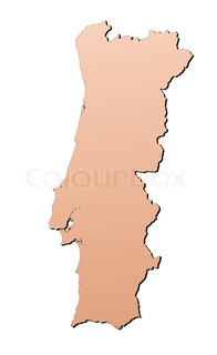 Portugal map filled with brown gradient Mercator projection
