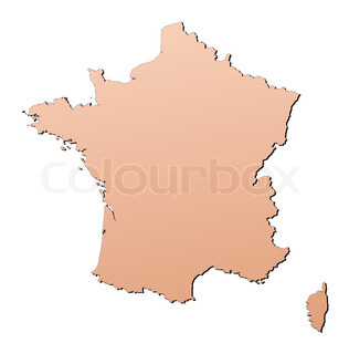 France map filled with brown gradient Mercator projection