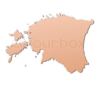 Estonia map filled with brown gradient Mercator projection
