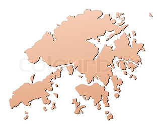 Hong Kong map filled with brown gradient Mercator projection