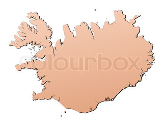 Iceland map filled with brown gradient Mercator projection