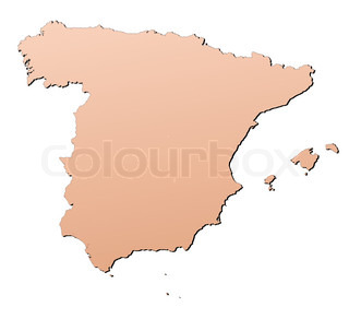 Spain map filled with brown gradient Mercator projection