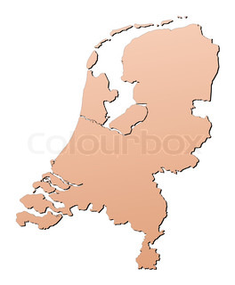 Netherlands map filled with brown gradient Mercator projection
