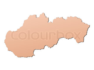 Slovakia map filled with brown gradient Mercator projection