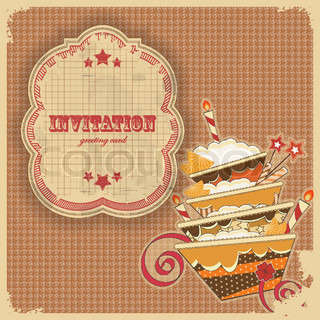 Vintage birthday card with cake and retro label - vector illustration