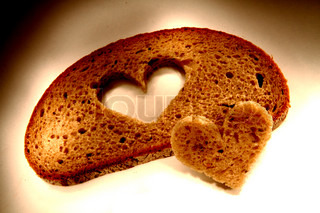 valentine heart from the slice of bread
