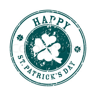 Happy Saint Patrick's Day stamp over white, greetings