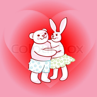 Valentine's Day cand with bunny and teddy bear in love, doodle drawings over happiness heart