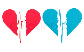 Broken red and blue hearts with ECG
