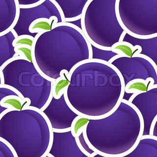 Plums seamless background