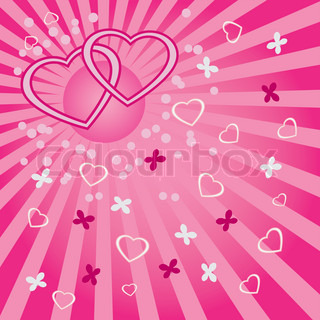 Hearts with butterflies and circles on the abstract pink background