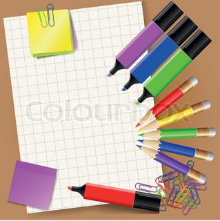 Vektor af 'farveblyanter, elementer, illustration'