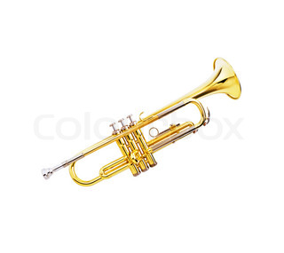 gold lacquer trumpet on white background