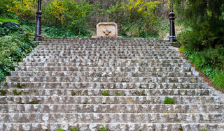 Ancient Stone Staircase Leading up the Hill in Burgos, Spain