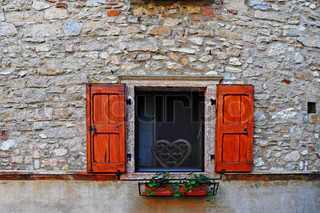 Italian Window With Open Wooden Shutters, Decorated With Fresh Flowers