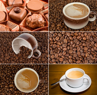 Coffee set with coffee beans, cups of coffee and candies